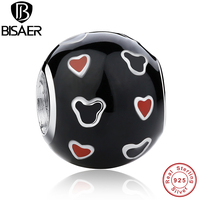 925 Sterling Silver Mickey Red Heart Charm Fit Pandora Bracelet Necklace Black And Red Enamel Ball