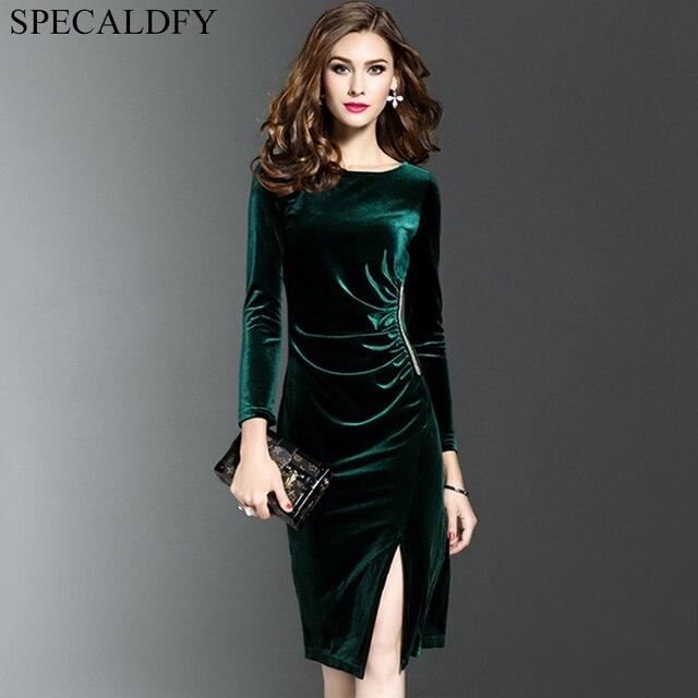 3xl Ladies Office Dresses Women Vintage Green Black Velvet Dress