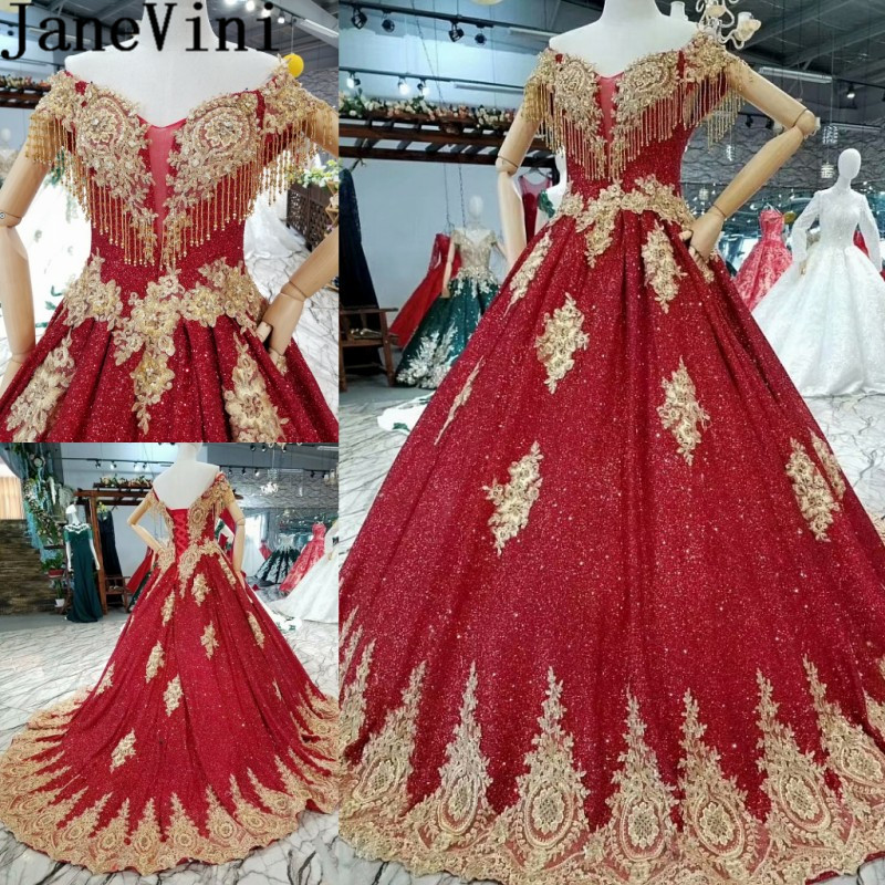 JaneVini Deluxe Burgundy Sequined Prom Ball Gowns Gold Lace Appliques Beaded Tassel Bridal Wedding Party   Bridesmaid     Dress   Long