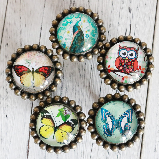 Cute Colored Owl butterfly Crystal Glass Door Knobs Drawer ...