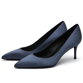 New Women Brand Pumps Pointed Toe Thin High Heels Office Ladies Silk Shoes Women Work Spring Pumps Big Size Ladies Shoes F0041 women pumps block heels 5cm pointed toe classic ladies chunky heels fashion female office shoes women