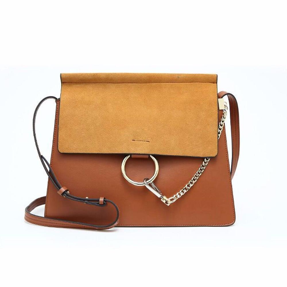 New Brand Retro S M L Size Crossbody Bag Genuine Cow Leather Women Shoulder Bag Women Messenger Bag Chain Ring Female Bag 907