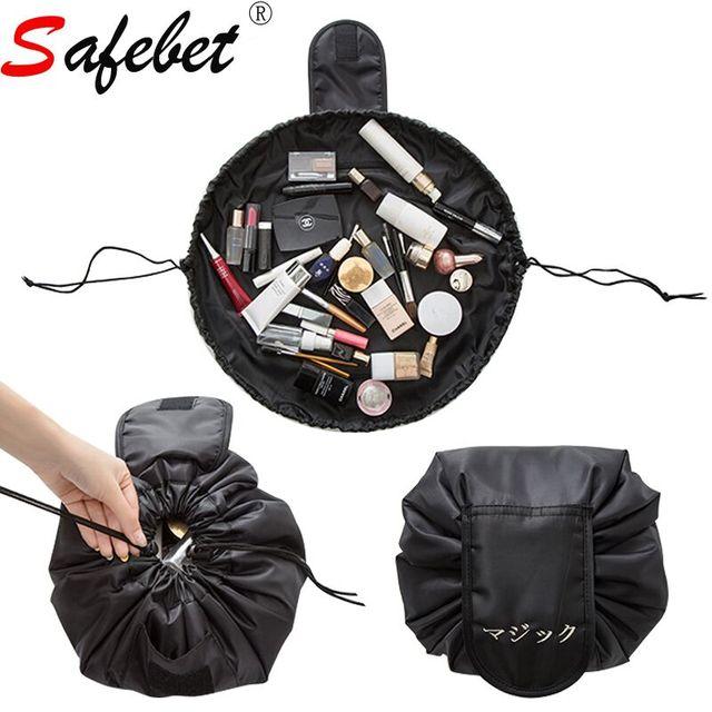 Women Drawstring Makeup Bags Roll Up Geometric Cosmetic Pouch Toiletry Bag Travel Storage Organizer Black Fashion