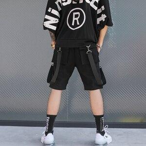 Image 3 - Erkekler rahat çok cepler şeritler hip hop punk kargo şort streetwear mens hiphop kaykay kısa pantolon bermuda masculina
