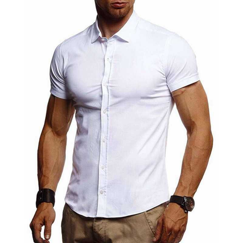 Litthing 2019 Casual Men Shirt Short Sleeve Solid Summer Breathable Fashion Men Business Shirt Muscle Slim  Top Chemise M-3XL