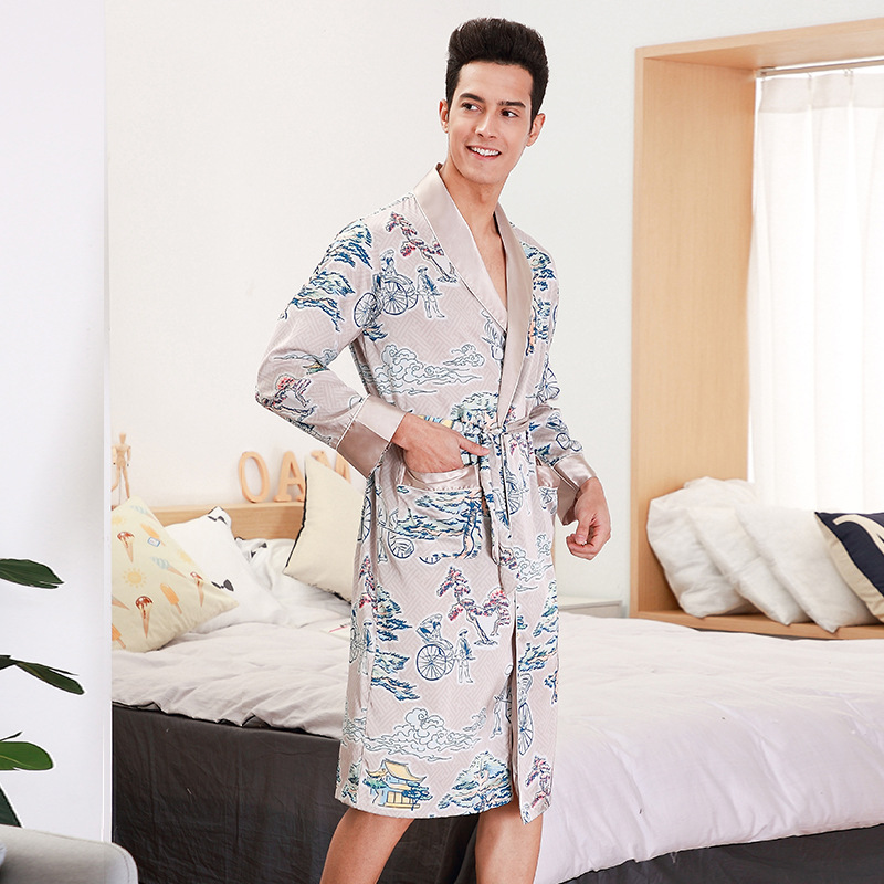 Diszipliniert Männer Bademantel Herren Silk Kimono Männlichen Kimono Herren Silk Bademantel 9725