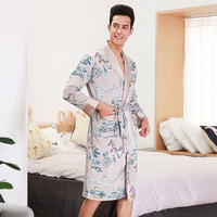 Men's Bathrobe Mens Silk Kimono Male Kimono Mens Silk Bathrobe 9725