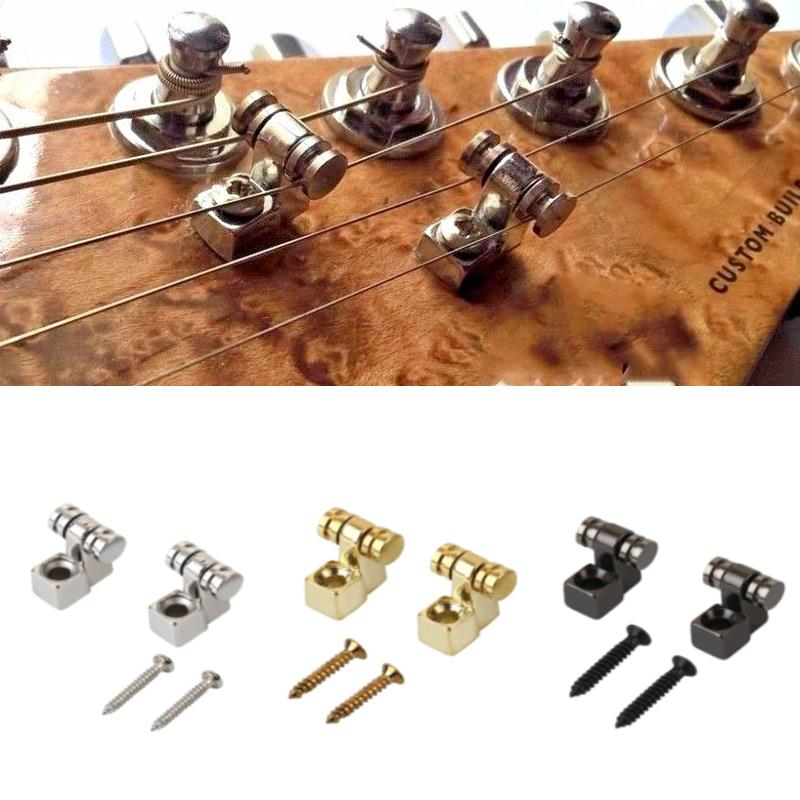 2Pcs Electric Guitar Chrome Roller String Trees Retainer Mounting Tree Guide Silver Black Gold 3 Color niko pack of 50pcs chrome black gold guitar pickguard mounting screws 3 12mm for st tl lp sg electric guitar bass