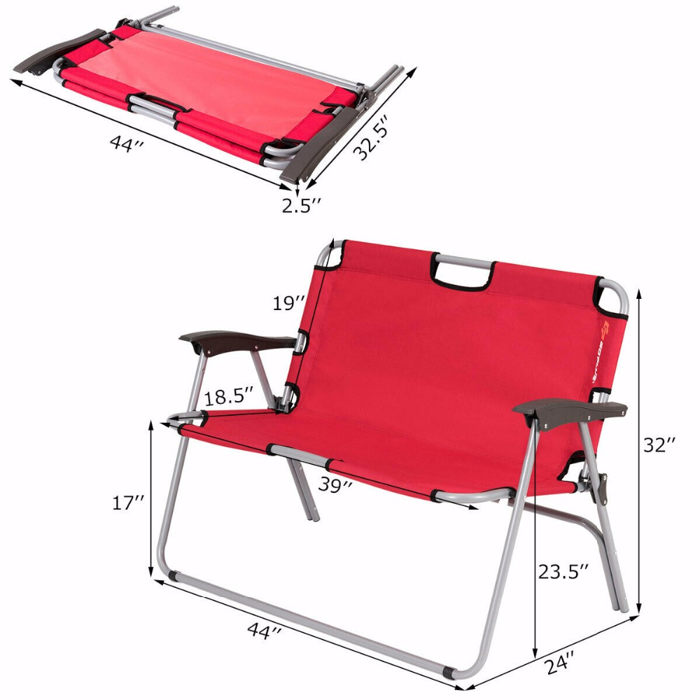 Giantex 2 Person Folding Camping Bench Portable Loveseat Double Chair Outdoor Red Op3774re In Beach Chairs From Furniture On Aliexpress Com