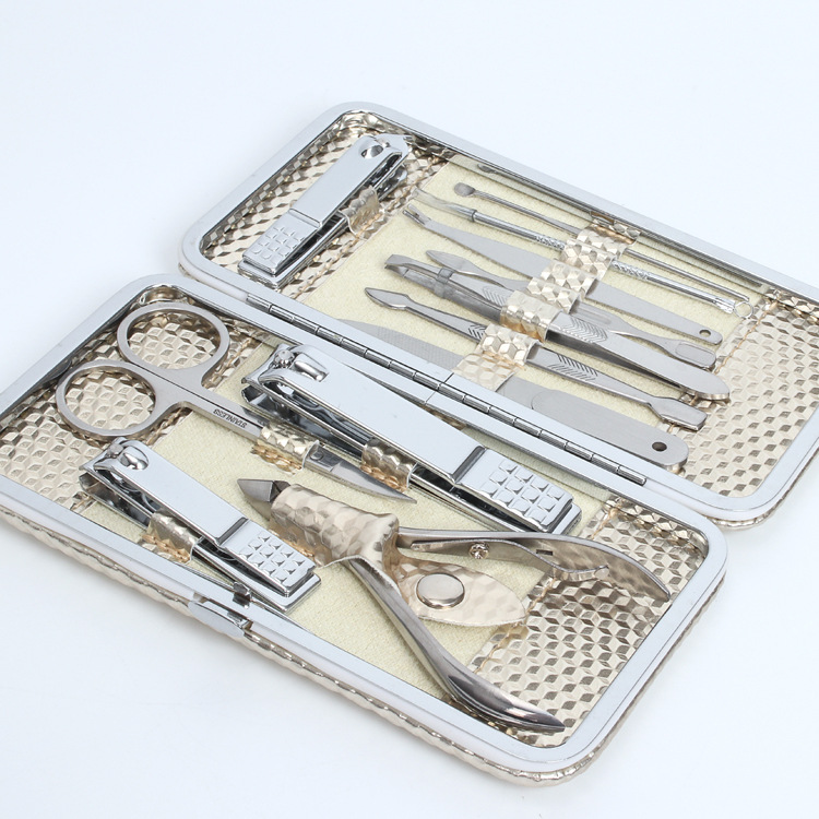 12pcs Portable Stainless Steel Nail Art Manicure Set Nail Care Tools with Mini Finger Nail Cutter Clipper File Scissor Tweezers 7 in 1 stainless steel portable nail clipper set