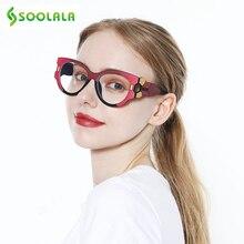 SOOLALA, анти-синий светильник, очки для чтения, для женщин, дальнозоркость, большая оправа, широкие руки, кошачий глаз, женские очки с диоптрией
