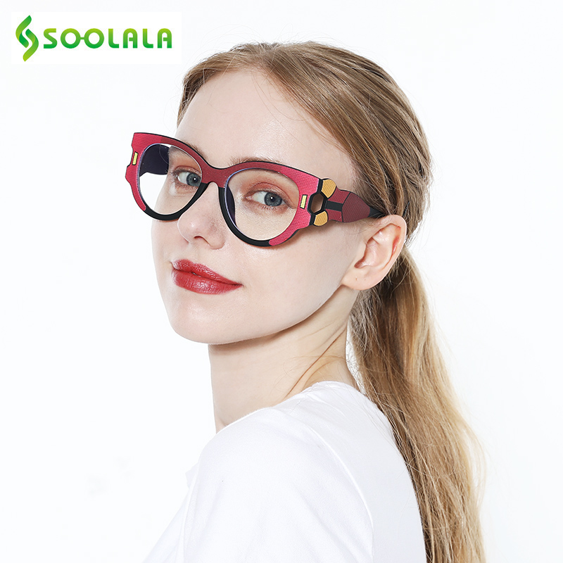 SOOLALA Anti Blue Light Reading Glasses Women Hyperopia Presbyopic Big Frame Wide Arms Cat Eye Women Glasses With Diopter