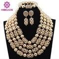 Luxo Dubai Ouro Frisado Declaração Ousada Colar Set Casamento Nigeriano Beads Africanos Set Jóias Acessório Frete Grátis WD317
