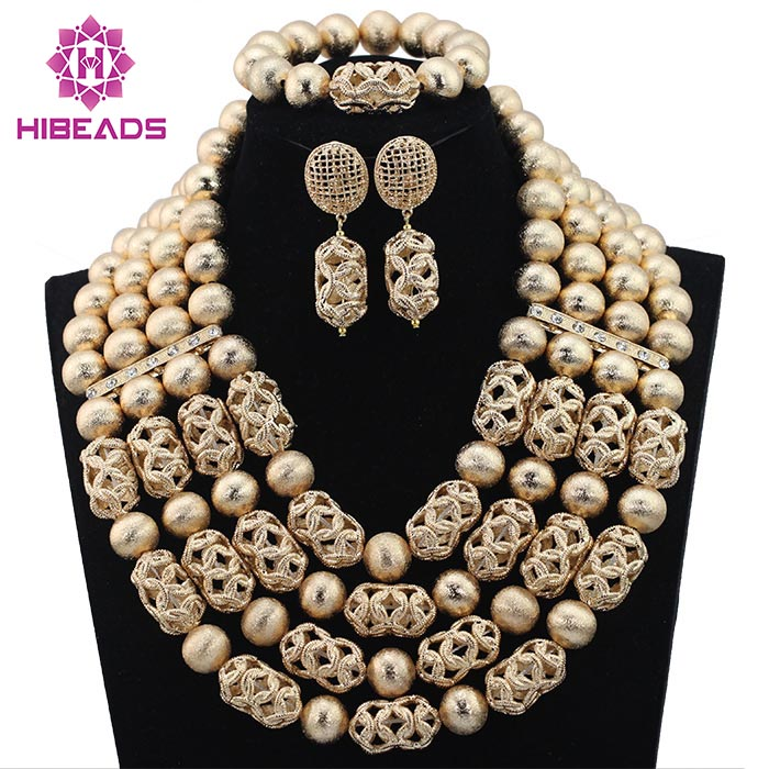 Luxury Dubai Gold Beaded Bold Statement Necklace Set Nigerian Wedding African Beads Jewelry Set Accessory Free Shipping WD317 цена и фото