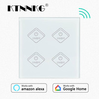 KTNNKG UK Standard 4CH AC90 250V WIFI Touch Switch Tempered Glass LED Light Indicator Control Wall