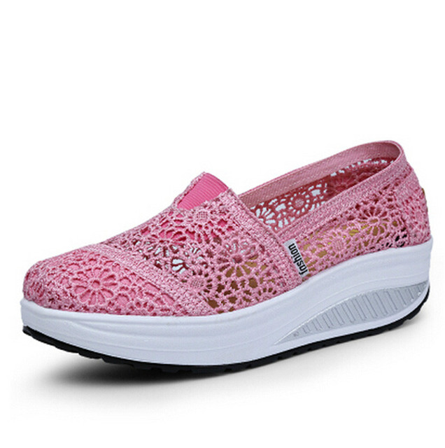 Women Shoes Summer Spring Lace Loafers Breathable Wedges Fitness Creepers Flats Platform Shoes Candy colors 3d40