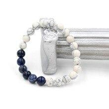 8mm White Turquoise Stone Bracelet Bangles Elastic Cord Natural Stone Friendship Strand Yoga Bead Bracelet for Women and Men