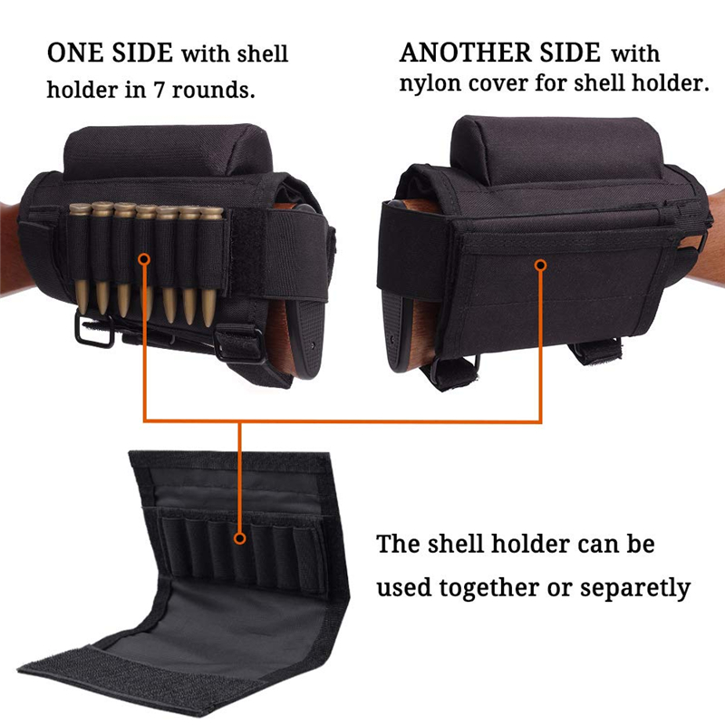 Tactical Buttstock Cheek Rest with Shell Holder for 7.62.308.300 Mag Rifle Shotgun Ammo Pouch Cartridges Hunting Gun Accessories 4
