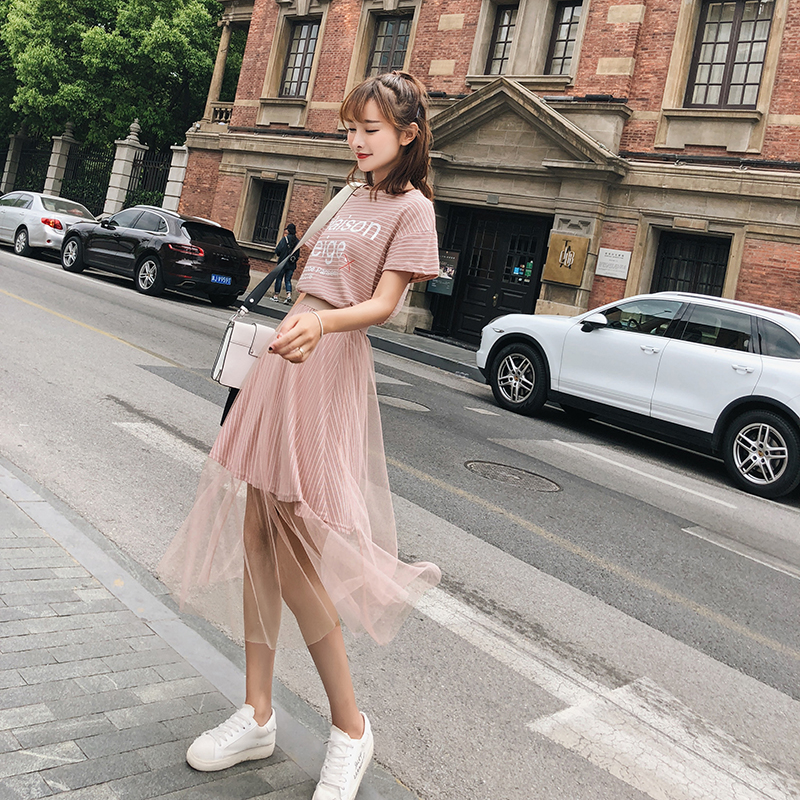 2018 New Fashion Women dress Short Sleeve Mesh Dresses Pink Purple F6512