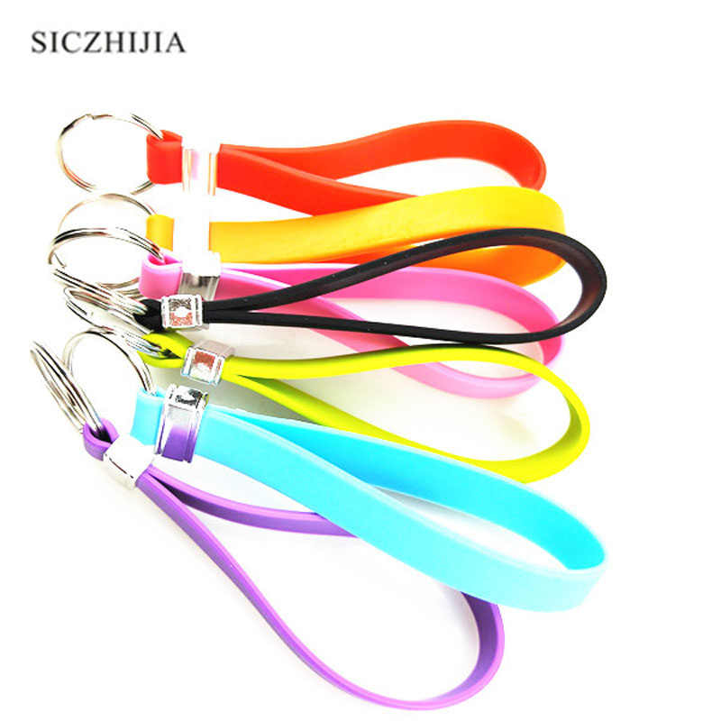 Hot silicone dây đeo tay thời trang keychain cho Peugeot 206 207 208 301 307 308 407 2008 3008 4008