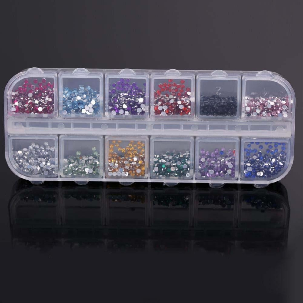 1000pcs round rhinestones for nail 12 colors 2mm hard case for 3d acrylic nail art decoration