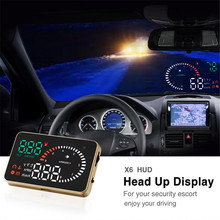 New X6 3 inch Car HUD Head Up Display Windscreen Car Projector Vehicle OBD II Car Styling Car Kit Speed Alarm Fuel Consumption