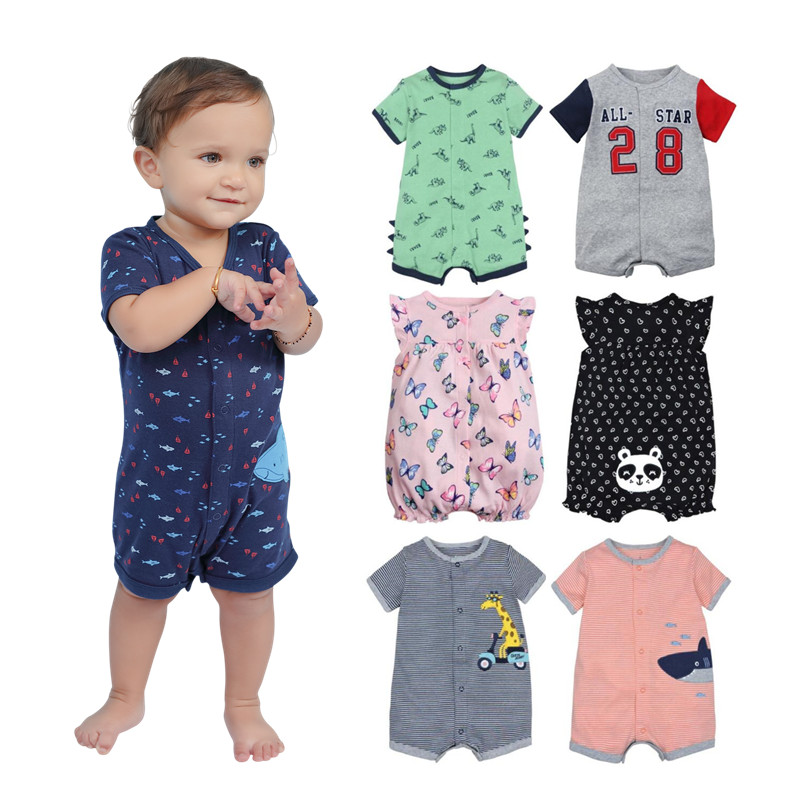 2019 official store Summer boys baby clothing Short Sleeved Jumpsuit Newborn Romper Baby Boy Clothes infant roupas  Baby Rompers