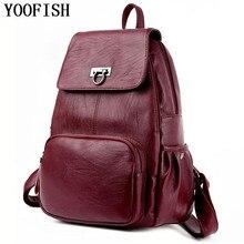 YOOFISH   Women pu Leather Backpack Girls Casual Bag Fashion Backpack for Teenage School bag Mochila High Quality Satchel стоимость
