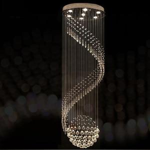 Image 1 - Modern Crystal Chandelier For Spiral Design LED Luxury Crystal Lamp Hanging Interior Ladder Corridor Lamp