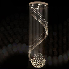 Modern kristal avize Spiral tasarım LED lüks kristal lamba asılı iç merdiven koridor lambası
