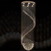 Nowoczesna kryształowa żyrandol do spiralna konstrukcja LED luksusowy kryształ lampa wisząca wnętrze drabiny lampa do korytarza
