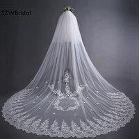 ファッションsluier白1層チュールレースエッジロング美しいブライ