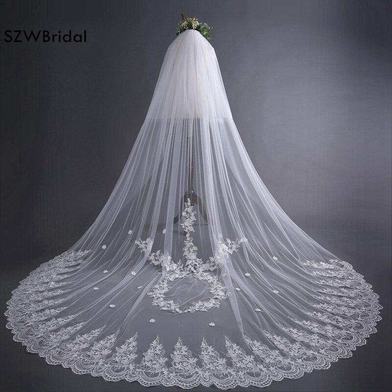Fashion Sluier White One-Layer Tulle Lace Edge Long Beautiful Bridal Veil Cheap Wedding Veil With Comb 2020 Vestido De Noiva