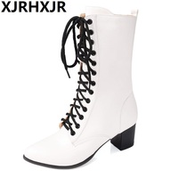 XJRHXJR 2018 Corss Straps Women Boots Plus Size 32 43 Med Heel Lace Up Round Toe Classic New Fashion Woman Shoes Black Red White
