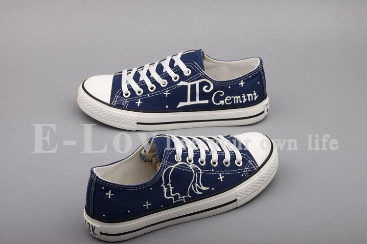 E-LOV Hand Painted Graffiti Horoscope Canvas Shoes Custom Luminous Graffiti Gemini Casual Flat Shoes Women zapatillas mujer