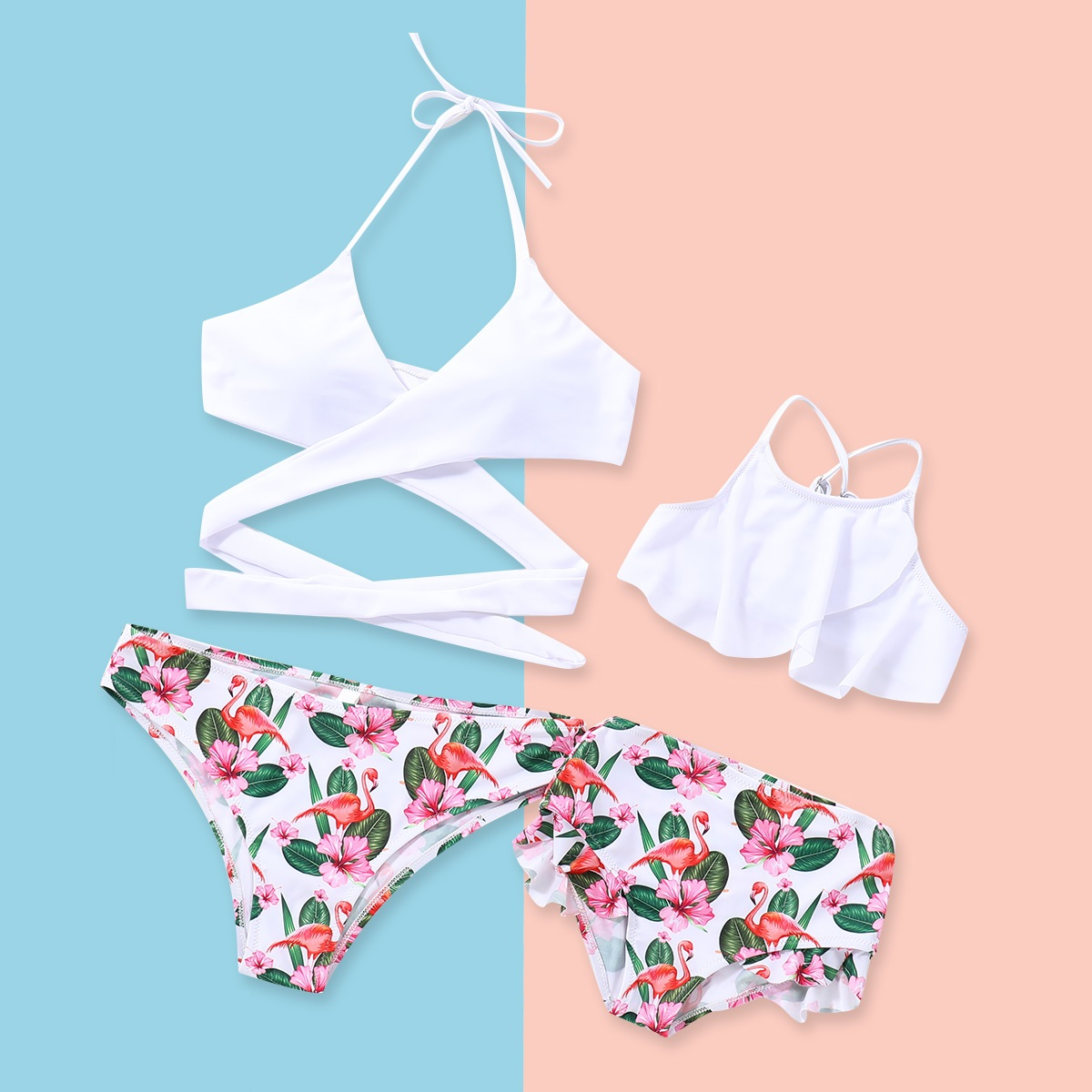 Family Swimsuits Mother Daughter Swimwear Mommy And Me Clothes Mom And Girls Matching Dress Look Flamingo Briefs Bikini Outfits
