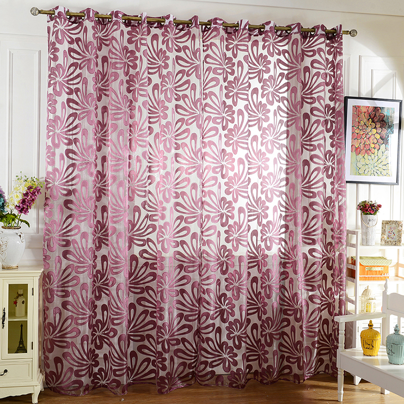 2017 Fashion Home Textile Flower Embroidered Window Curtains fabric ...