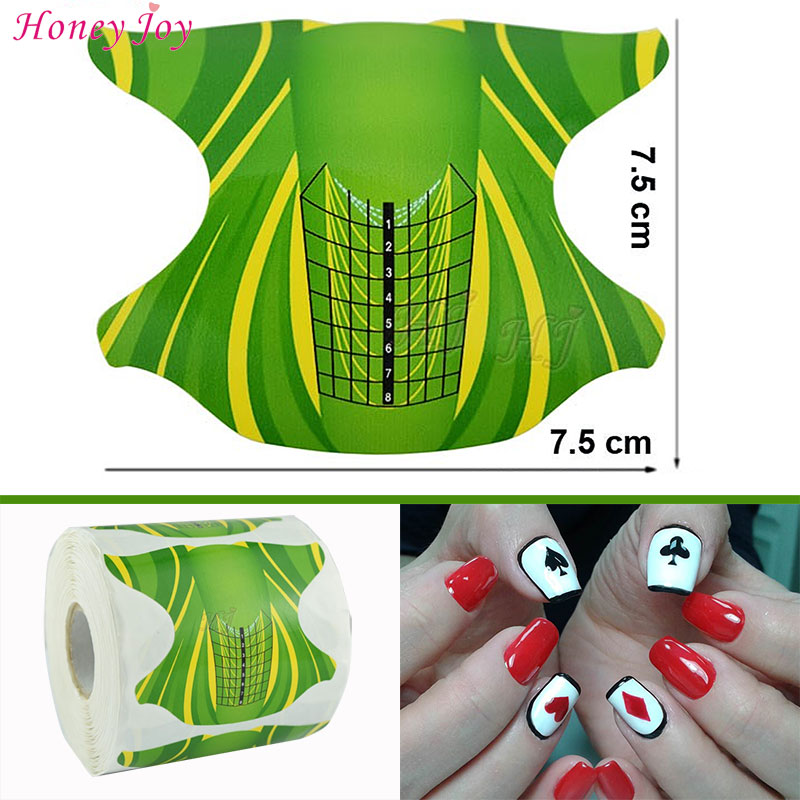 300pcs/lot Professional Nail Form Tips Nail Art Guide Form Acrylic Tip Gel Extension Sticker Nail Polish Curl Form