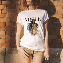 Showtly  VOGUE Letter Print Fashion Womens Tee Tops Summer T Shirt Casual Simple Super Soft Cotton Short Sleeve