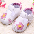 PU 0-2 años de edad, niña primero caminan los zapatos de color rosa y sapato infantil baby girl zapatos de cuero azul con bordados de flores 383