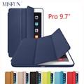 Para ipad pro 9.7 pulgadas caso elegante de cuero original 1:1 diseño tri-fold soporte de la piel cubierta magnética para ipad 7 auto sleep/wake up