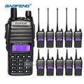 10 pcs walkie talkie com fone de ouvido baofeng uv-82 2 rádios de longo alcance dual-band uhf/vhf cb comunicador de rádio de presunto handheld