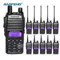 10 unids walkie talkie con el auricular baofeng uv-82 2 way radios de largo alcance de doble banda uhf/vhf cb comunicador de radio de jamón handheld