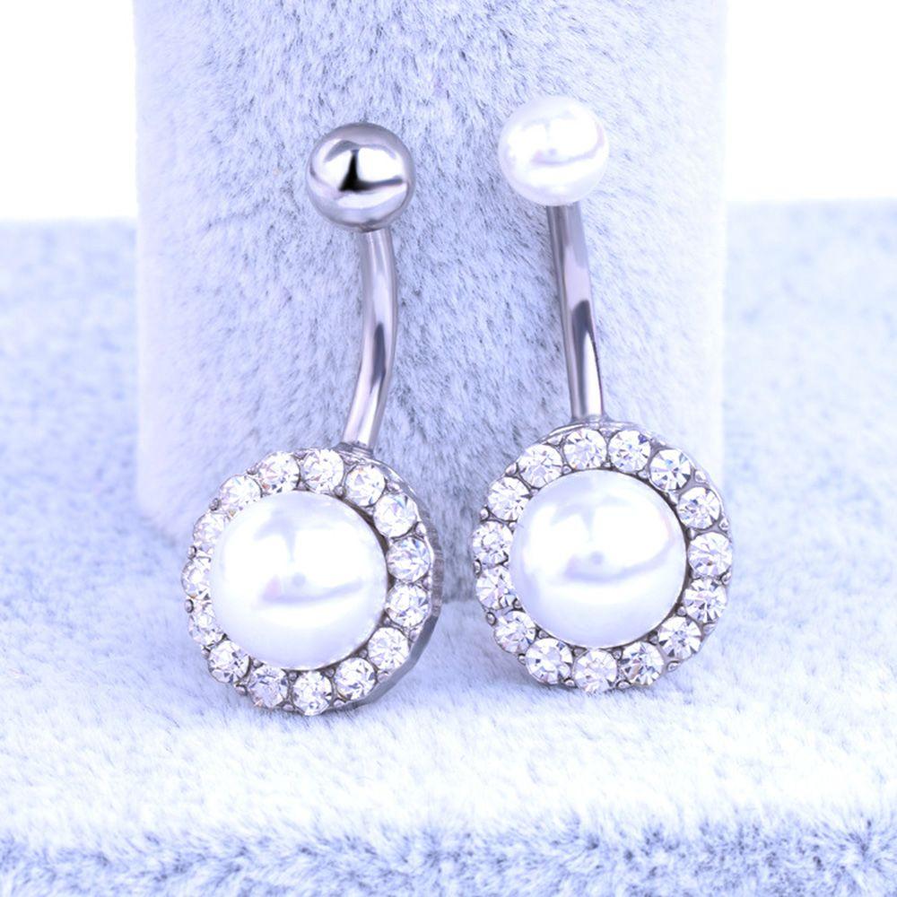 HTB1AMp9RFXXXXcGXpXXq6xXFXXXr Elegant Pearl Button Ball Belly Button Ring Jewelry - 3 Styles