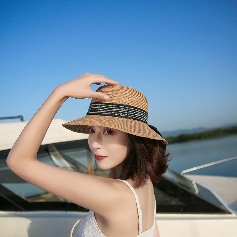 adff0c6a9ef Women Summer Straw Hats Letter Love Me More Embroidery Flat Sun Hats Ladies  Bow Knot Beach Caps Chapeau Femme-in Sun Hats from Apparel Accessories on  ...