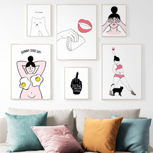 Middle finger Cat Sexy Girl Lips life Quotes Wall Art Canvas Painting Nordic Posters And Prints Pictures For Living Room