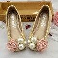 Niñas de las flores de la boda shoes 2017 primavera kids girl princess shoes para fiesta niños bailarinas con flor