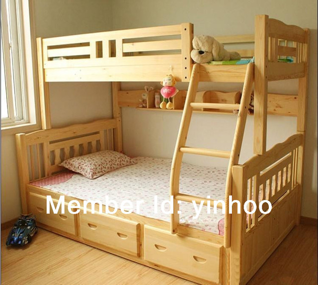 2014 New Style Triple Bunk Bed Solid Wooden Bunk Bed For Kids In