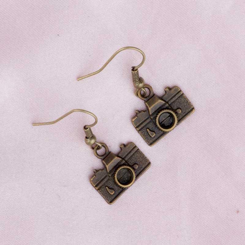 Alliage de Zinc antique argent Bronze caméra pendentif à breloque boucles d'oreilles femme Halloween bijoux décoratif nouvelle offre spéciale cadeaux créatifs
