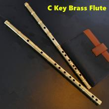 Brass Metal Flute C Key Flute Thicken BrassTransverse Flute Professional Musical Instruments Metal Flauta Self defense